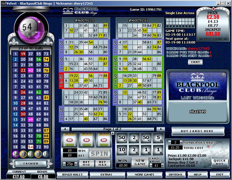 View of Online Bingo